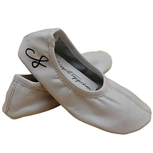 Siegertreppchen® Turnschläppchen Leder (Größe 35) Weiß | Gymnastikschuhe für Mädchen & Jungen| Ballettschuhe atmungsaktiv & rutschfest