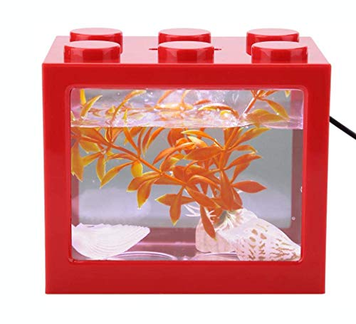 Mini Cube Fish Tank, stapelbaar aquarium Bouwsteen Design Fish Tank Decoratie Ocean Micro-Landscape Box USB LED Light Lamp Fish Tank Desktop voor Box Office Tea Table Decor,Red