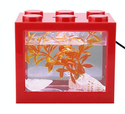 Mini Cube Fish Tank, stapelbaar aquarium Bouwsteen Design Fish Tank Decoratie Ocean Micro-Landscape Box USB LED Light Lamp Fish Tank Desktop voor Box Office Tea Table Decor,Red