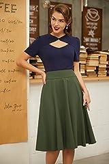 Belle Poque Vintage 1950s Elegant Solid Color High Waist Plain Tea Skirts for Womens Dark Olive Green(561-15) Large #3