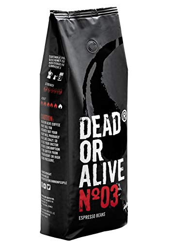DEAD OR ALIVE Espresso NR3 Kaffeebohnen - Extra starke koffeinreiche, langsam geröstete italienische Mischung - 100% Robusta, feinste Crema - Barista, dunkle und vegane Röstung - 1kg Gastro Beutel
