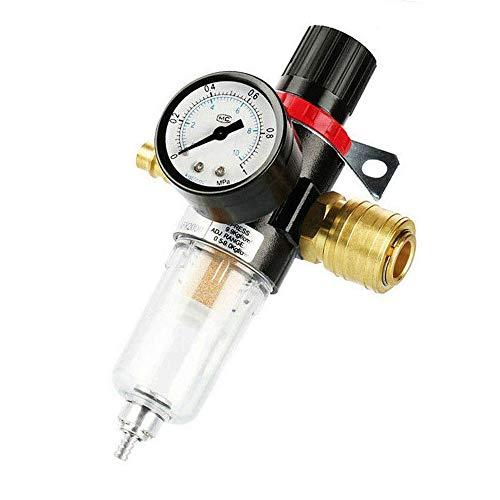 Druckluft Wartungseinheit Druckminderer 1/4 zoll, MOPOIN Druckluft Regler Kompressor Zubehör mit Wasserabscheider und Schnellkupplungen für Druckluft Kompressor Filter und Luftwerkzeuge