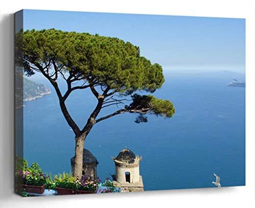 Wall Art Canvas Print Photo Artwork Home Decor (24x16 inches)- Italy Amalfi Coast Ravella Garden Sea View W