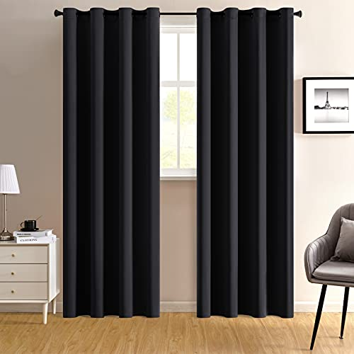 96 Inches Long Doorway Curtain Panel Black Grommet Extra Wide Privacy Blackout Closet Curtains for Bedroom Closet Door
