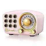 Radio retro Bluetooth altavoz, radio vintage - Radio FM Greadio con estilo clásico antiguo, mejora de graves fuerte, conexión Bluetooth 4.2, ranura para tarjeta TF y reproductor de MP3 (rosa)