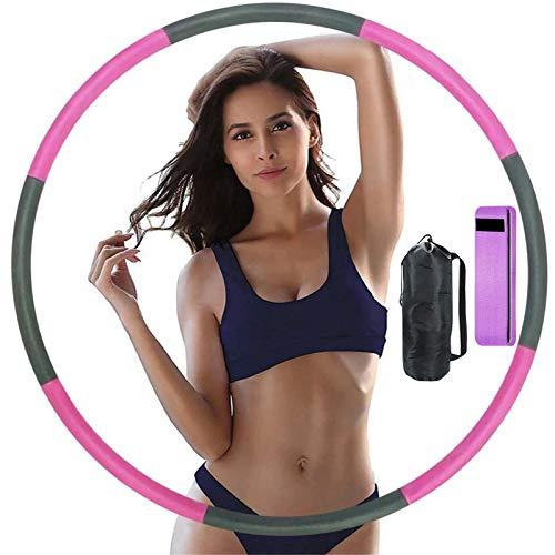 Hula Reifen für Erwachsene / Kinder Fitnessreifen Abnehmbarer Verstellbarer Abnehmbarer Kreisschwamm Professionelles Gewelltes Design Faltbarer Fitness Massage Ring Übungsreifen (Rosa+Grau)