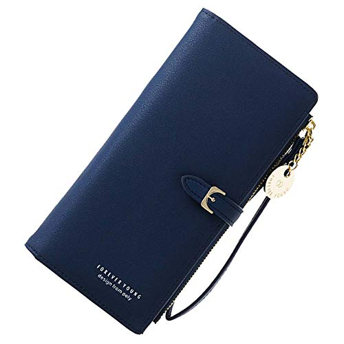 Coopay Damengeldbörse,Einfarbig Groß Kapazität Portemonnaie,Reißverschluss Brieftasche,Mädchen Geldbeutel Börse Kunstleder,Handytasche für Samsung Galaxy S8 S9 Plus S10+ J3 J4+ A10 A50 A40 - Blau