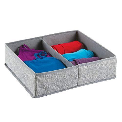 mDesign Stoffbox für Schrank oder Schublade, 2 Fächer – die ideale Aufbewahrungsbox (Stoff) – flexibel verwendbare Stoffkiste – Farbe: grau