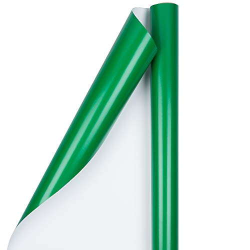 JAM PAPER Gift Wrap - Glossy Wrapping Paper - 25 Sq Ft - Green - Roll Sold Individually