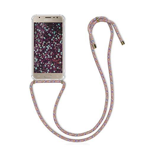 kwmobile Necklace Hülle kompatibel mit Samsung Galaxy J3 (2017) DUOS - Hülle Silikon mit Handykette - Band Handyhülle Mehrfarbig Transparent