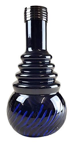 Ersatzglas für Shisha | Bowl Schraub-Gewinde | Farbe - Blau | Ersatzbowl für Wasserpfeife | Höhe - 30cm | Shisha Vase mit LED Aussparung für Diverse Wasserpfeifen | Zubehör für Nargileh | AS-16
