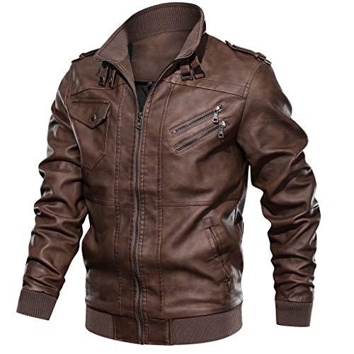 Chaqueta Invierno Hombre Retro Moto Cuero Bolsillo con Cremallera Chaqueta Cuello de Pie Manga Larga Gran tamaño Abrigo Jacket Parka Pullover riou