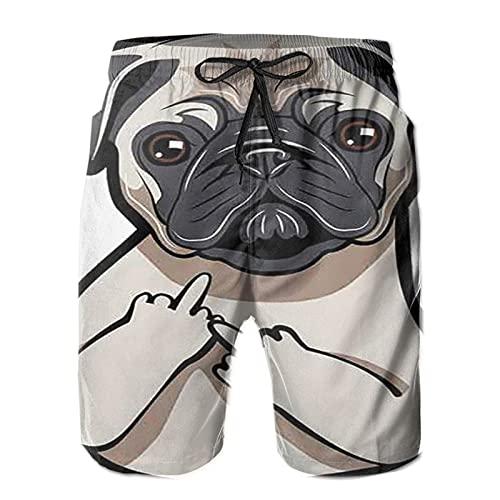 Pug Puppy Face Dog Portait Shorts de baño para Hombre de Secado rápido con Forro de Malla, Talla XXL