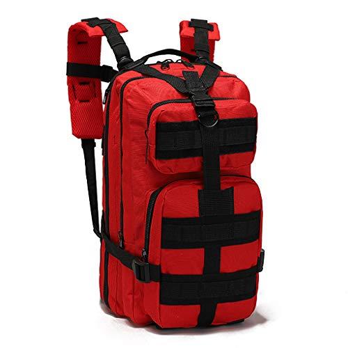 YHHXオックスフォード布バックパック、3Dリュックアウトドアアドベンチャー戦術迷彩バックパックアウトドア小型防水バックパックレトロなバックパック迷彩戦術的なバックパック,赤