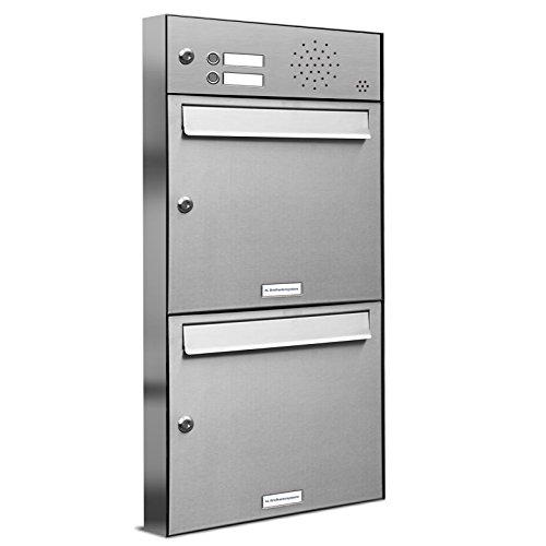 AL Briefkastensysteme 2er Briefkastenanlage mit Klingel, V2A Edelstahl, Premium Doppel-Briefkasten DIN A4, 2 Fach Postkasten modern Aufputz