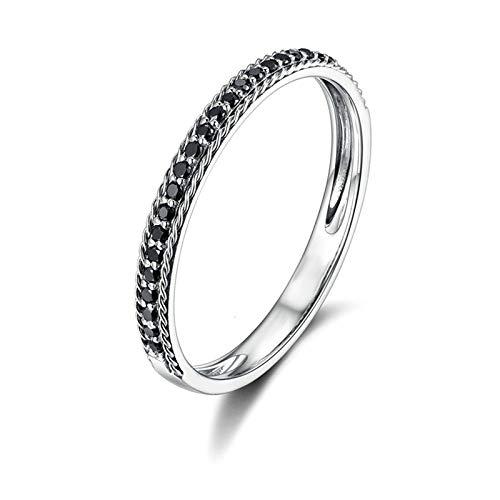 Daesar Damen Hochzeitsring 18 Karat Weißgold Schmal 0.21ct Rund Schwarz Diamant Verlobungsring Ring Weißgold Gr. 65 (20.7)