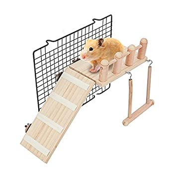 AHANDMAKER Hamster House Plate-Forme échelle de Cage de Hamster, Supports de Gymnastique pour Oiseaux en Bois avec échelle d'escalade pour Hamster et Perroquet 23,8x10x1,55cm