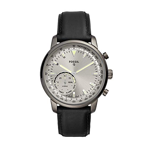 Fossil Hybrid Smartwatch Q Goodwin met zwarte leren band voor heren (FTW1171)