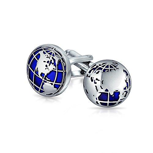 Bling Jewelry Globe World Map Blau Runde Manschettenknöpfe Für Männer Shirt Manschettenknöpfe Hinge Zurück Silber Ton Messing Stahl