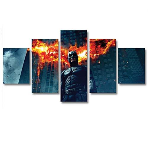 GSDFSD So Crazy Art - Hombre murciélago Decoracion De Pared 5 Piezas Modernos Mural Fotos para