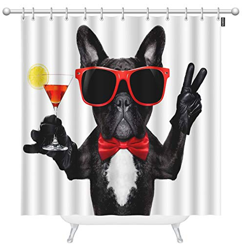 HOSNYE French Bulldog Dog Shower Curtain 60x72 Inch Kids Holding Martini Cocktail Glass Fun and Party Polyester Stall Curtains with Hooks for Bathroom Showers