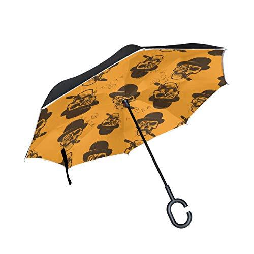 ISAOA Große Schirm Regenschirm Winddicht Doppelschichtige Konstruktion seitenverkehrt Faltbarer Regenschirm für Auto Regen Außeneinsatz, C-förmigem Henkel hinhängen Totenkopf mit Zigarre Regenschirm