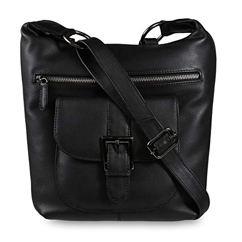 DeeTail Large Crossbody Soft Genuine Grade A Leather Bag Handbag with Maglock Pouch Anti-theft (Black)