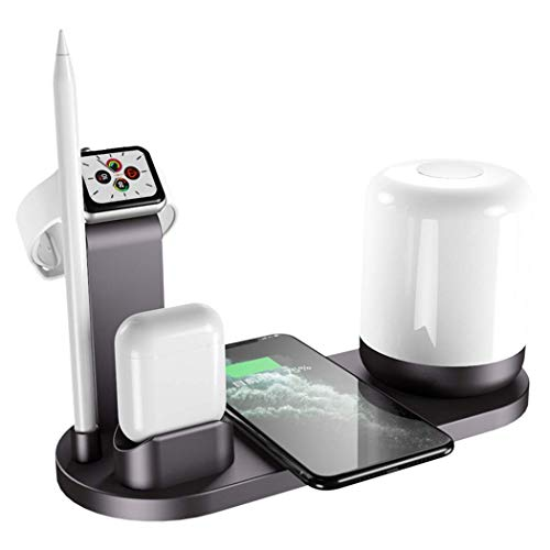 OH 3 en 1 Fast Wireless Charger Stand Night Light Desk Lamp Adecuado para Iphone 12 Mini Pro Max 11 Pro Max Y para Se 6 5 4 3 Airpods Pro Blanco Carga directa inalámbrica/Negro