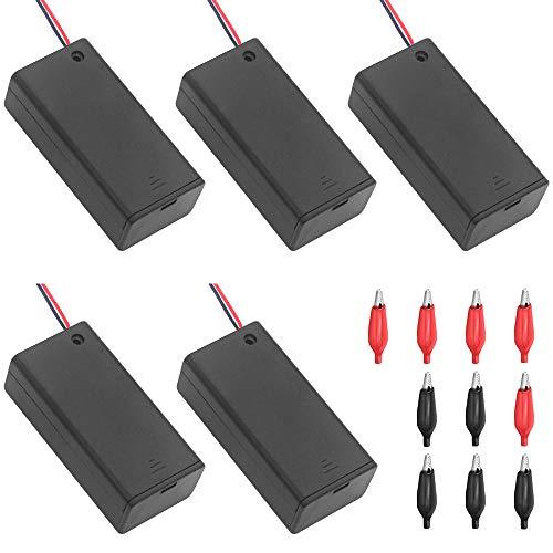 5 Pcs Negro Caja de batería de 9V Caja de Almacenamiento de batería de plástico con Interruptor de Encendido/Apagado y 10 Pinzas de Cocodrilo