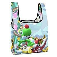 買い物袋をたたむ ヨッシー4 防水素材のおしゃれなプリントのショッピングバッグ 大容量軽量エコバッグ 水洗いしてハンドバッグを繰り返し使うことができます
