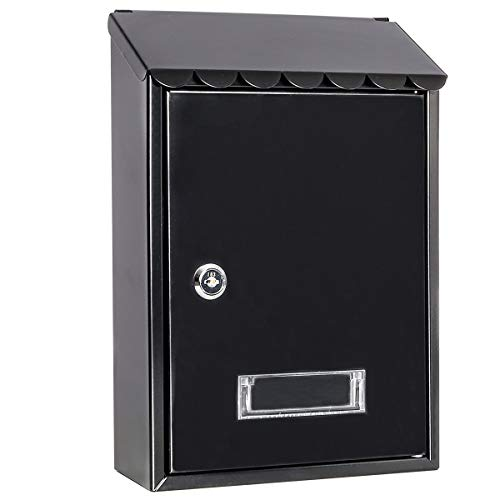 Mailboxes Wall Mount with Key Lock – Jssmst Small Mail Boxes Horizontal, 12.4 x 8.3 x 3.05 Inch, Black New