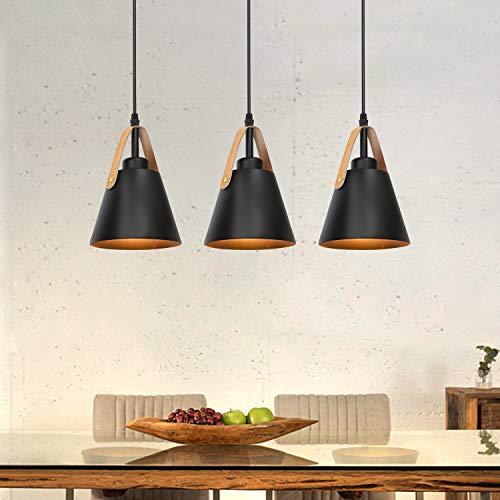 Lámpara colgante Lámpara de comedor vintage de plástico negro de 3 llamas con portalámparas E27 en apariencia de metal Lámpara de araña en diseño retro para dormitorio salón comedor (sin bombilla)