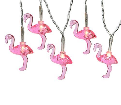 LED Batterie Lichterkette 10 tlg. Flamingo pink Sommer Party Garten Timer 1,8 Meter