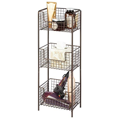 mDesign 3 Tier Vertical Standing Bathroom Shelving Unit Decorative Metal Storage Organizer Tower Rack with 3 Basket Bins to Hold and Organize Bath Towels Hand Soap Toiletries - Bronze