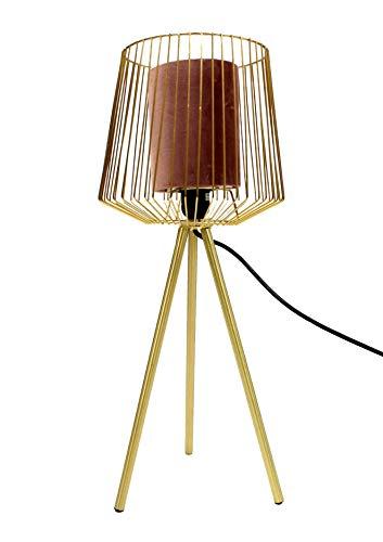 MaxxHome - Lámpara de mesa con trípode de tela roja y metal dorado, 50 cm, E27, 40 W
