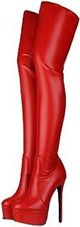 Laarzen Over De Knie, Lakleren Dameslaarzen Met Plateauzool, Puntige Stiletto Damesschoenen Met Hoge Hakken,Red,37