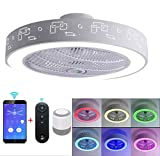 Luz de techo LED con doble altavoz musical Bluetooth, ventilador retráctil de 4 aspas y control remoto, lámpara araña moda simple para el hogar, luces estrellas iluminación fiestas familiares,1