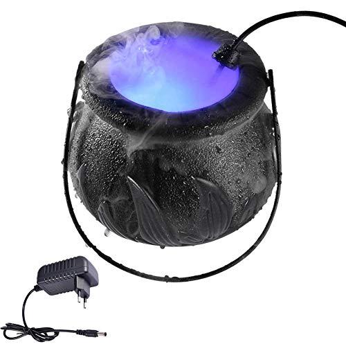 Dynamicoz Halloween Witch Cauldron Fog Maker , 12 LED Cauldron Rauchen , Halloween Mist Maker Fogger Wasserbrunnen Nebelmaschine Farbwechsel Party Prop , Halloween Dekoration