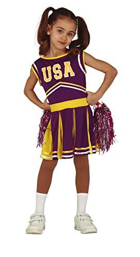FIESTAS GUIRCA Disfraz Cheerleader amarllo y Morada niña Talla 3-4 años