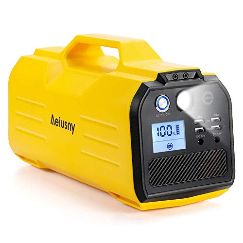 Aeiusny 296Wh Portable Solar Generator Rechargeable, Backup Battery Generator with 110V AC Outlet, 12V Car, USB Output Off-Grid Power Supply for CPAP Camping Emergency