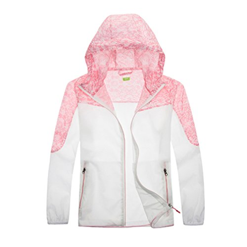 emansmoer Enfants Garçons Filles Veste Outdoor Respirant Quick Dry Protection Solaire Anti-UV Ultra léger Ultra Mince Veste (Medium, Rose Rouge)