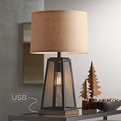 Barris Industrial Artisan Table Lamp with Nightlight LED USB Charging Port Metal Mesh Base Burlap Shade for Living Room Bedroom Bedside Nightstand Office - Franklin Iron Works
