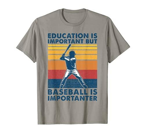 La educación es importante, pero el béisbol es importante vintage Camiseta