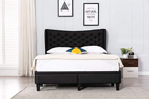 """Home Life Black Drawer Storage Cloth Tufted 51"""" Tall Headboard Platform Bed with Slats King-5 Year Warranty"""
