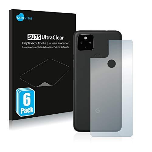 Savvies 6X Schutzfolie kompatibel mit Google Pixel 4a 5G (Rückseite) Bildschirmschutz-Folie Ultra-transparent