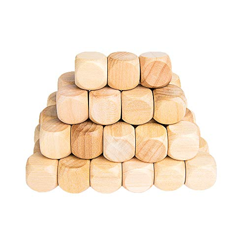 Wooden Cubes Crafts, Blank Dice Set, Wood Square Blocks for Puzzle Making, Crafts and DIY, Set of 50