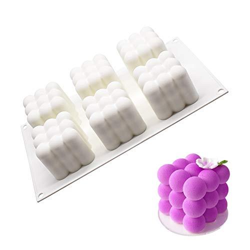 Molde de silicona con forma de cubos, 6 agujeros, molde de silicona para magdalenas, pasteles, jabón, gelatina, repostería, cupcake
