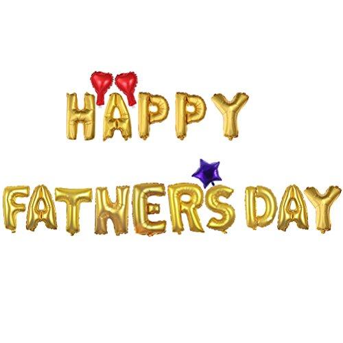 LUOEM Palloncini con lettere happy father's day cuori e stelle per decorazione della Festa papà