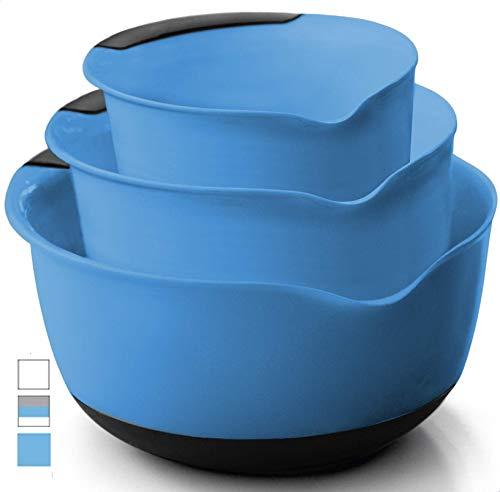 Gorilla Grip Original Mixing Bowls Set of 3, Slip Resistant Bottom, Includes 5 Qt, 3 Qt, and 1.5 Quart Nested Bowl, Dishwasher Safe, Grip Handle for Easy Mix, Pour Spout, Baking 3 Piece Set, Aqua