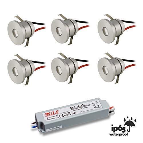 VBLED® LED Aluminium Mini Einbaustrahler IP65 wassergeschützt - 1W 350mA 80lm warmweiß (3000 K) (6er-Set IP65 WW)